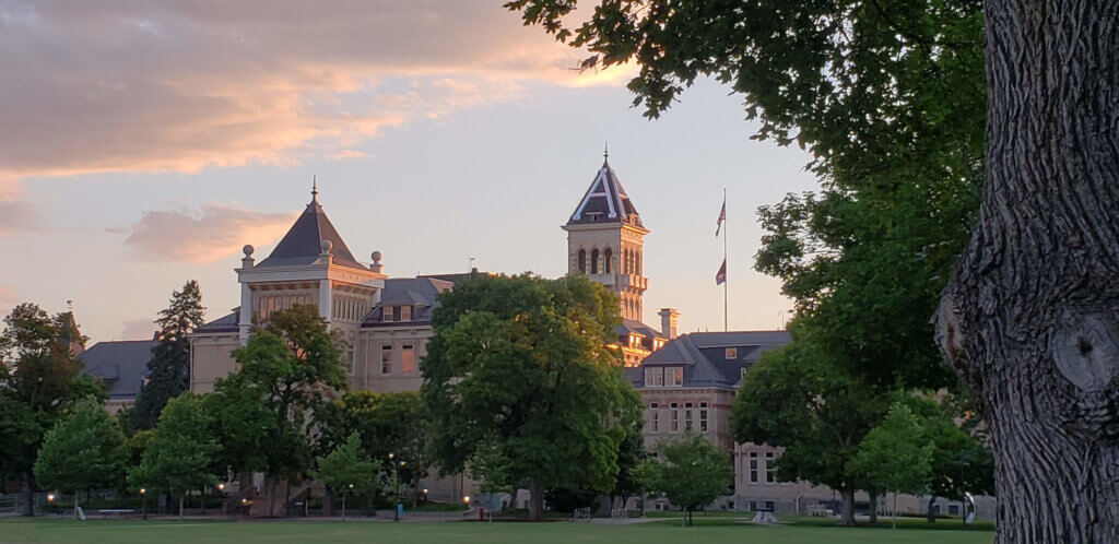 USU quad building at sunset
