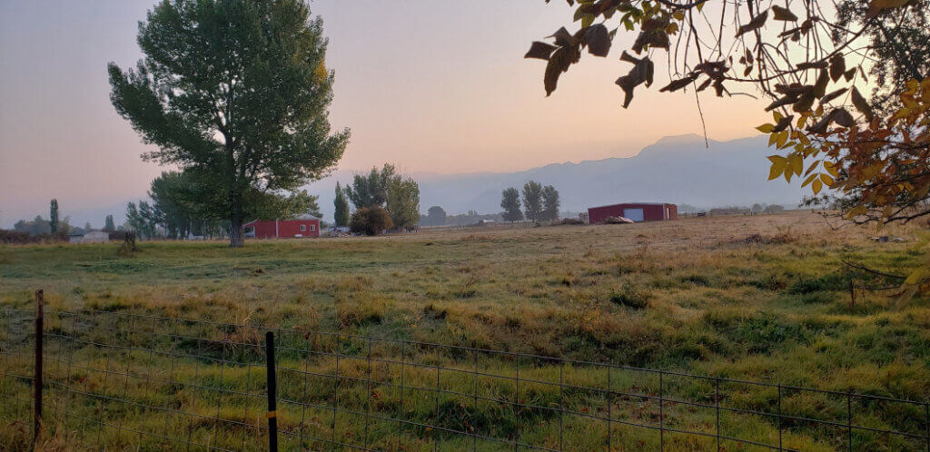 farm at sunrise with outbuildings