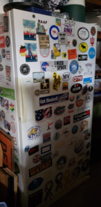 Freezer with bumper stickers